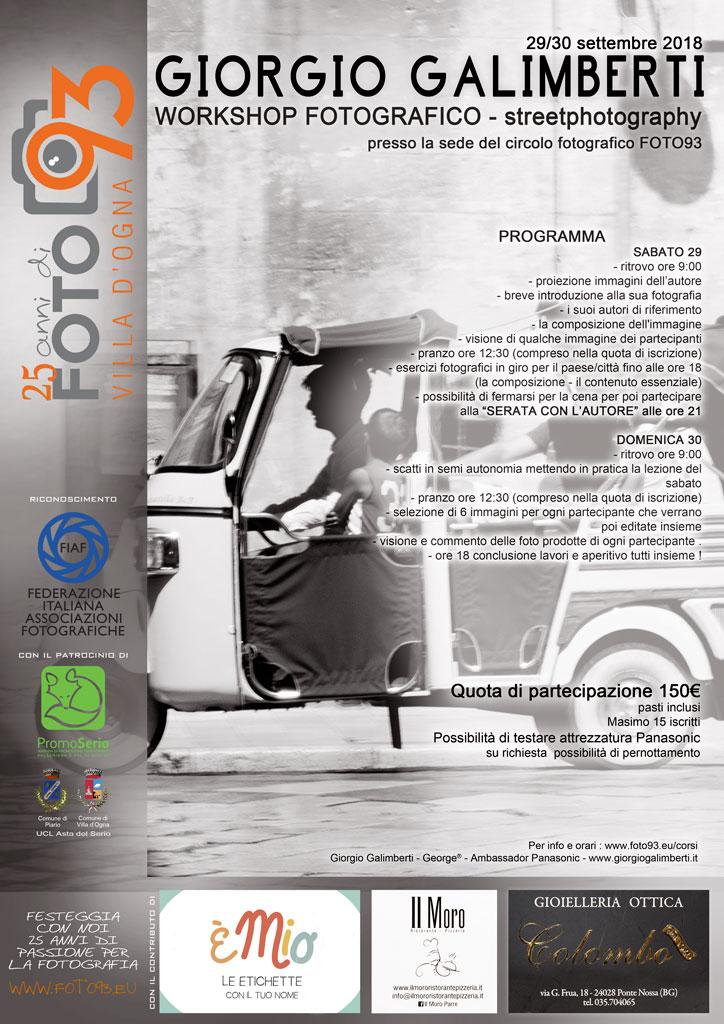 Workshop fotografico di STREETPHOTOGRAPHY con GIORGIO GALIMBERTI