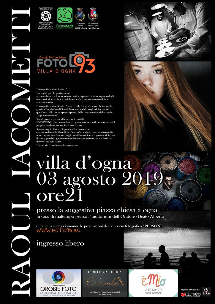 3 AGOSTO 2019 serata con Raoul Iacometti a villa d Ogna